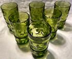 Set of 6 Vtg Colony Indiana Glass Green Kings Crown Thumbprint Tumblers Glasses