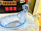 Vintage Indiana Light Blue Glass Hen on a Nest Chicken Covered Dish Beaded Blue