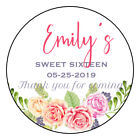 Sweet 16 Thank you Tags Stickers floral birthday label sticker 25inch