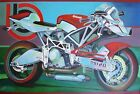 MOTORCYCLE ART, BIMOTA TESI 2D, ACRYLIC PAINTING, CANVAS PAINTING MOTORCYCLE