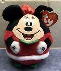 Retired 2013 Ty Christmas Holiday Beanie Ballz Minnie Mouse Mrs Claus w/Hang Tag