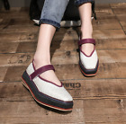 Fashion Womens Creepers Square Toe Platform Match Color Vintage Comfort Shoes NW