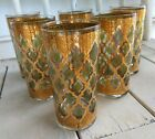 6 Mid Century Modern Culver Valencia Highball Tumblers 22k Gold Barware Glasses