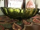Vintage Dark Green Glass Serving Bowl Oval