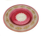 Val St Saint Lambert Beaudoin Rose Frosted Ruby Red Cut Glass Plate