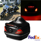 Lockable Motorcycle Rear Luggage Box with Red Signal Light Built-with Backrest