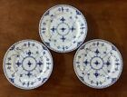 (3) Royal Copenhagen China Blue Fluted Half Lace Salad Plates #573 - 1st Quality