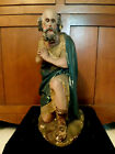 Lg Antique Plaster Church Nativity Creshe Kneeling Shepherd Statue 18H
