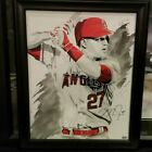 Mike Trout Los Angeles Angels of Anaheim Signed & Framed 16x20 canvas w MLB COA