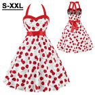 Womens 50s Cherry Vintage Style Pinup Swing Evening Party Rockabilly Retro Dress