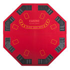 Red Octagon 48 8 Player Four Fold Folding Poker Table Top  Carrying Case