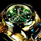 Invicta Plated Scuba Mens Diver New Gold Watch 48mm Pro 18kt Chronograph Green