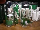 Vintage Libbey Glass Tropical Palm Tree Cocktail Iced Tea Tiki Tumblers Set Of 4