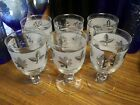 Vintage Libbey Silver Leaf Wine Glasses Water Goblets; Set of 6