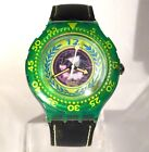 Swatch Scuba Black Leather Strap Green NEW STRAP Diving Diver Watch Vintage BOX