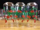 set of 3 Vintage Anchor Hocking Strawberry vine Glass flared Tumblers