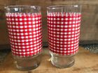 Lot 2 Vintage Red Gingham Check Drinking Glass Tumbler