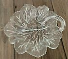 Clear Glass Leaf Shaped Dish Divided Center Candy Nut Serving Bowl Table Decor
