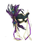 Green Venetian Karneval Mardi Gras Eye Mask with Feathers and Ribbons 56281