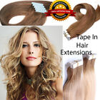 Black brown gold Tape in Real Remy Human Hair Extensions Curly Straight US STORE