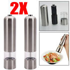 2 x Electric Automatic Pepper Salt Mills Dry Herb Grinder Machine with LED Light