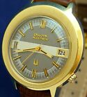 Bulova Accutron 218 date vintage 1973 GP/SS watch with new matched leather strap