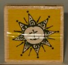 Vap Scrap Rubber Stamp Smiling Pointed Sun Face Wood Mount 2 x 2