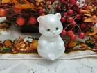Mother of Pearl Sitting Bear Hand painted Fenton Art Glass Figurine 2002