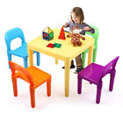 Kids Plastic Square Table 4 Chairs Set Play Colorful Fun Furniture Toy Activity