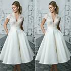 Vintage Womens white Lace Bride Dresses Tea Length Wedding Gowns Wedding Dress