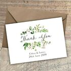 Personalised Rustic Thank You Cards PostcardWeddingGreen floral Packs of 10