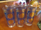 Vintage Bright gold and royal blue fifty/twenty dollar drinking glasses set of 6