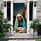 Christmas Nativity Scene Front Door Cover Outdoor Home Decoration Banner B8