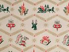 VTG CHRISTMAS WRAPPING PAPER GIFT WRAP 1950 REINDEER SLEIGH CANDLE ORNAMENT NOS