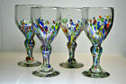 VINTAGE BLOWN GLASS HAND DECORATED ART GLASS WINE GLASSES SET OF 4 ITALY
