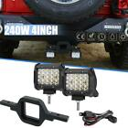 25 Tow Hitch Mount Trailer Receiver W 4 LED Pod Light For JEEP Wrangler JK
