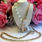 BETSEY JOHNSON LOVELY LONG FAUX PEARL AND WITH ANCHOR PENDANT NECKLACE 43 INCH