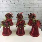 Set of 6 Vintage Bells Holly and Ribbon Valerie Parr Hill QVC Christmas Ornament