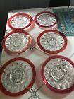 Kings Crown Thumbprint Ruby Red Plates 75 In Lot Of 6