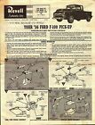 VINTAGE REVELL 1956 FORD F-100 PICK-UP TRUCK MODEL KIT INSTRUCTION BROCHURE