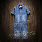 Mens Vintage Denim Overall Shorts Casual Jeans Cargo Cowboy Suspenders Jumpsuits