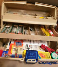 90s Tackle Box Full of Fishing Gear Assorted Lures Spinners Bobbers Hooks More