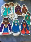 Christmas Nativity Cut Out Fabric Craft Diy Sewing Set Vintage Stuffed Rare 80s