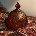 Beautiful Vintage AMBER ROUND GLASS COVER For Candy Dish
