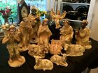 Vintage Japan Chalkware Composite Large Scale 12 Piece Nativity Figure Set