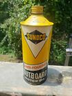 Vintage 1 quart Sunoco Outboard Oil Can 1/3 full Great Graphics Good Patina