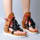 Vintage Ladies Platform Wedge Heels Hollow Out Tassels Multi-color Sandals Shoes
