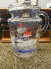 Vinrage Anchor Hocking Clear Glass Vintage Water Pitcher With Sail Boats 1950's