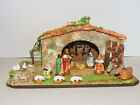 Vintage French Nativity Scene Terra Cotta Stable w Figures Vintage 1950s