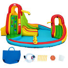 Kids Inflatable Water Slide Park with Climbing Wall Water Cannon and Splash Pool
